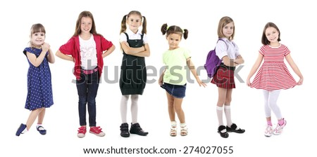 Little children isolated on white - stock photo