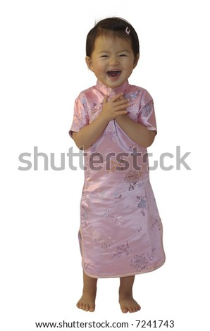 Little chinese girl in traditional dress - stock photo