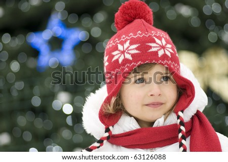 Little Christmas girl - stock photo