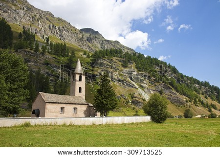 Little church around Sils lake - Upper Engadine Valley - Switzerland.