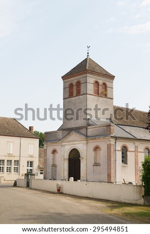 Little church in French village Lays sur le doubs - stock photo