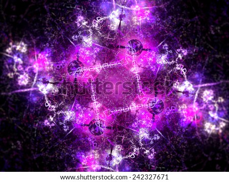 Little connected constructions in nanotechnology, computer generated abstract background - stock photo