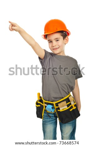 Little constructor worker boy pointing up isolated on white background