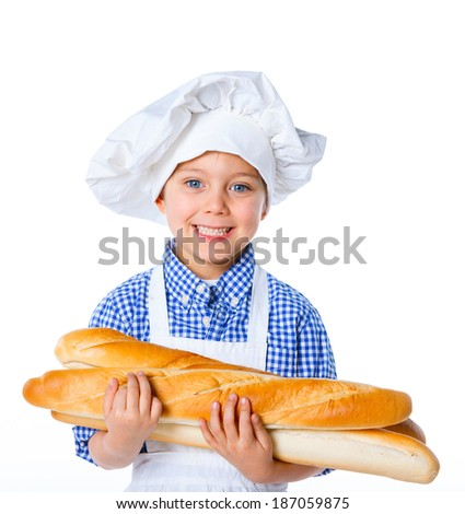 Little Cook Boy With Bread. Isolated on white background.
