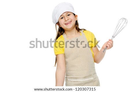 little cook with whisk child portrait playing chef