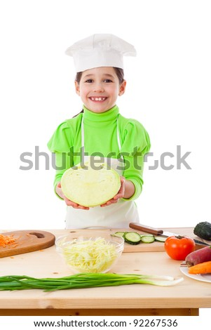 Little cooker with cabbage, isolated on white - stock photo