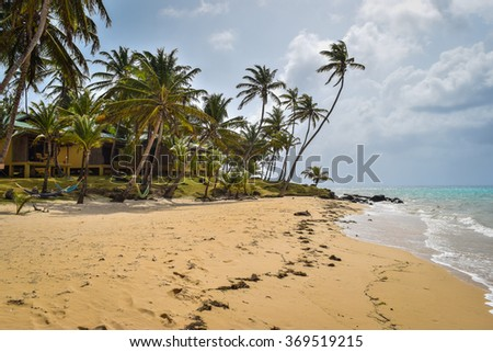 Little Corn Island, Nicaragua June 10, 2015: Typical day on the beaches around Yemaya Island Hideaway & Spa on Little Corn Island, located off the Caribbean coast of Nicaragua.