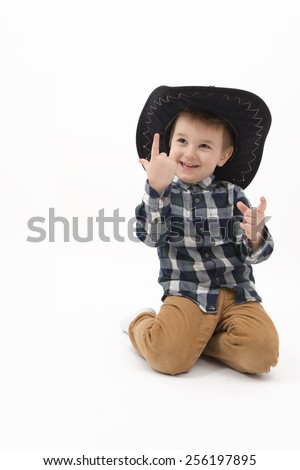 Little cowboy isolated - stock photo