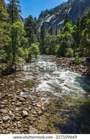 little creek in Yosemite National Park - stock photo
