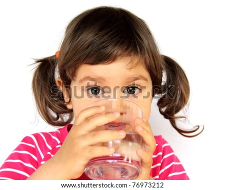 Little Curly Girl Drinking Pure Water Portrait - stock photo