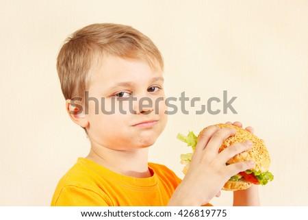 Little cut boy eating a tasty hamburger - stock photo