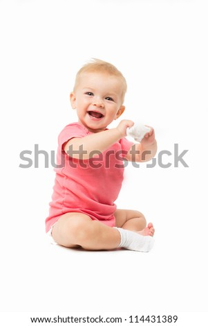 Little cute baby in pink dress isolated - stock photo