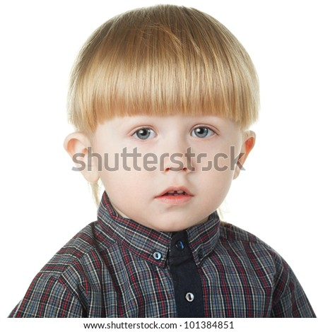 little cute boy isolated on white background - stock photo