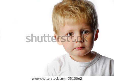 little cute boy on white background - stock photo