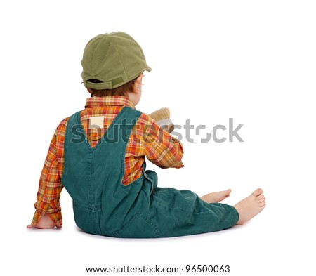 Little cute boy with a hand-tool from back. Isolated on white. - stock photo