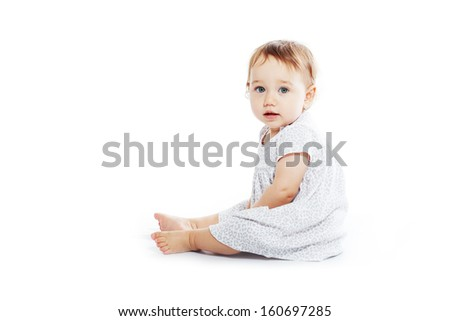 Little cute child girl isolated on white background high key photo. Use it for baby