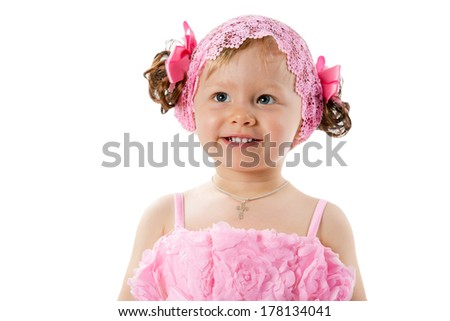Little cute child girl with with pink bows isolated on white background.  Use it for baby, parenting or love concept