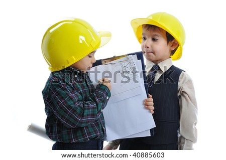 Little cute engineers isolated