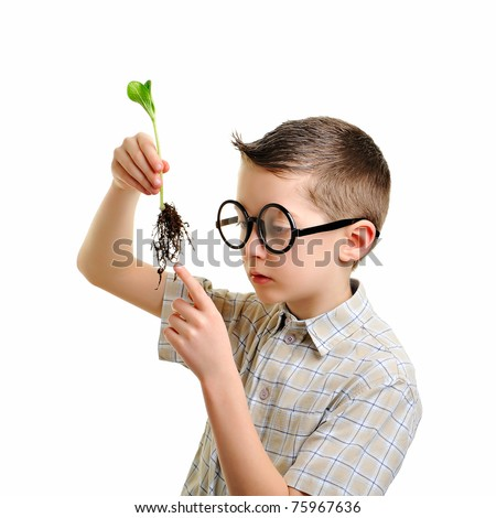 Little cute geeky child investigating green plant in the soil