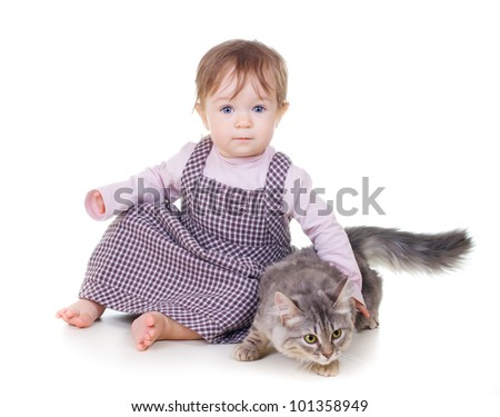 Little cute girl holding a cat on white background - stock photo