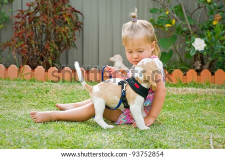 Little cute girl holding a puppy in her arms - stock photo