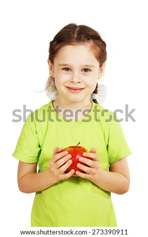 Little cute girl holds a big red apple - stock photo