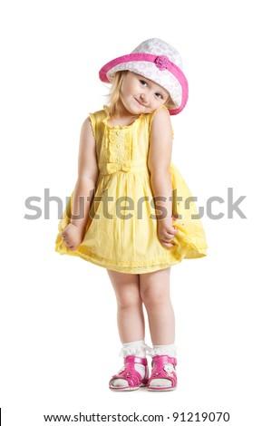little cute girl in a dress - stock photo