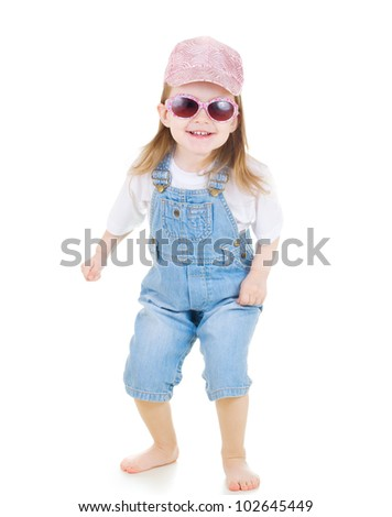 Little cute girl  in sunglasses  on white background - stock photo