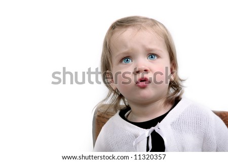 Little cute girl's emotions - stock photo