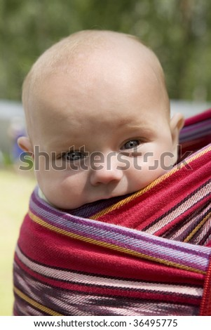 little cute girl six month old sitting in sling looking in camera. Summer time - stock photo