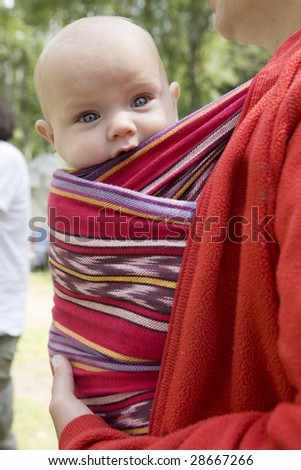 little cute girl six month old sitting in sling. Summer time - stock photo