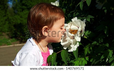 Little cute girl smelling a large white flower,outdoor - stock photo