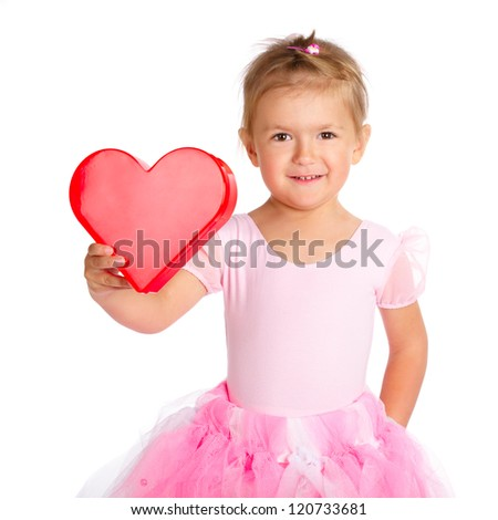 little cute girl with heart isolated on white background