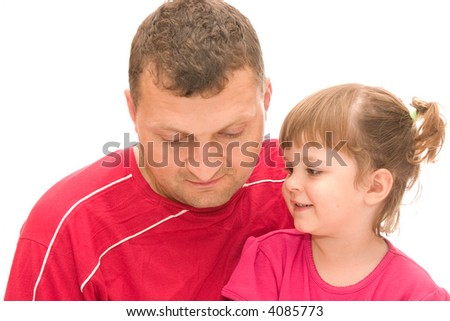 little, cute girl with pigtails and her father