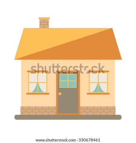 Little cute modern house for happy family. With chimney, roof, windows, door and brickwork. Small urban house. Exterior design. House icon on white background. Flat style illustration. - stock photo