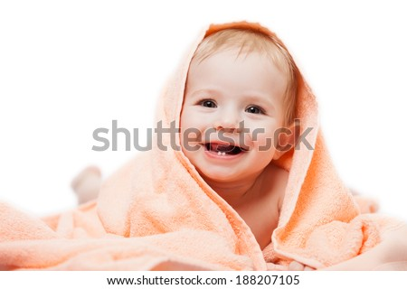 Little cute newborn baby child first milk or temporary teeth smiling face white isolated - stock photo