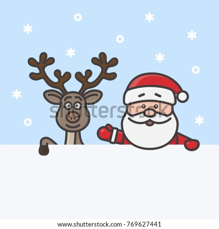 Little cute Santa Claus and funny reindeer holding a blank sign or message board. Holiday line art, flat line, outline stroke design. Merry Christmas and Happy New Year concept.