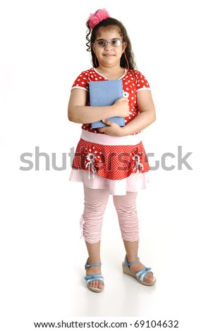 Little Cute School Girl holding the Book, isolated on white - stock photo