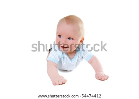 Little cute smiling baby-boy isolated on white background