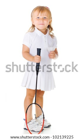 Little cute smiling girl holding a badminton racket on a white background - stock photo