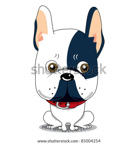 Little cute worried French Bulldog sitting with red collar - stock photo