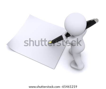 little 3d character write a card with big penisolated on white - stock photo