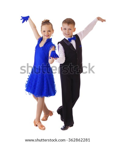 Little dancers couple, isolated on white background - stock photo