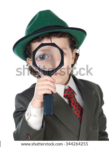 Little detective with magnifying glass to search for the mystery - stock photo