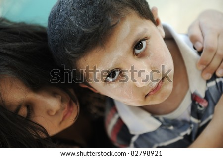 Little dirty brother and sister, poverty , bad condition