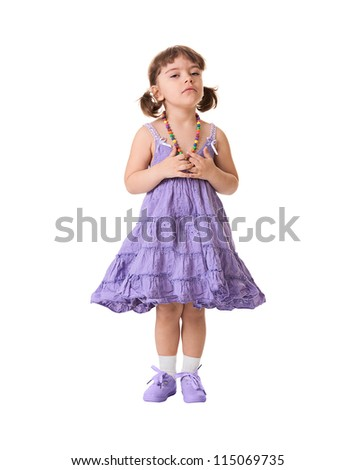 Little dissatisfied girl on a white background
