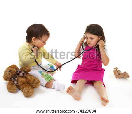 Little doctor and patient - stock photo