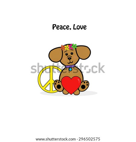 Little Dog - Peace, Love - stock photo