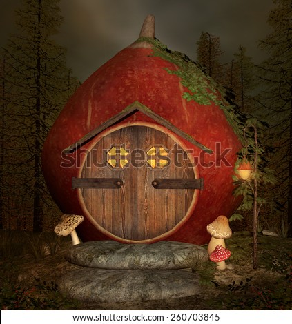 Little elf house by night - stock photo