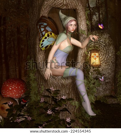 Little elf with lantern - stock photo